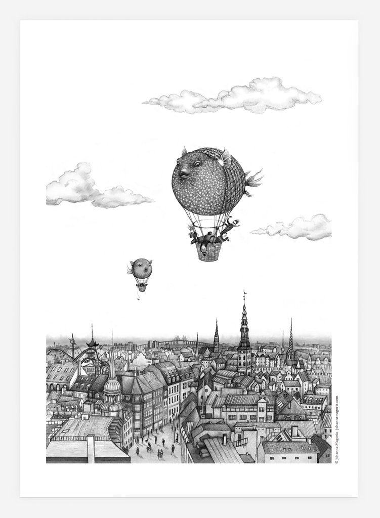 Balloon fish over Copenhagen